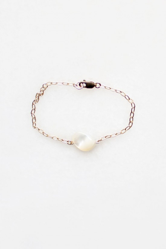 Mother of Pearl Chain Bracelet - 14kt gold fill