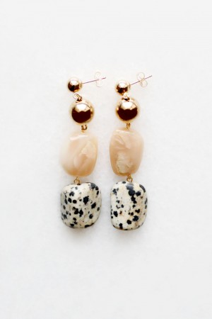 Moonstone and Dalmatian Earrings