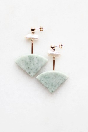 Marble and Pearl Earrings