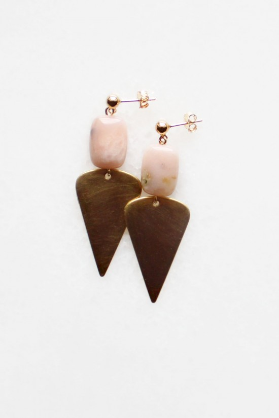 Peruvian Opal Brass Drop Earrings