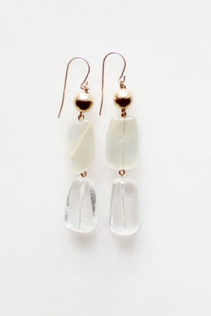 Tiered Moonstone and Quartz Earrings