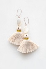 Mother of Pearl Tassel Earrings in Peach Blush - small