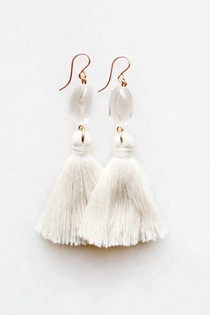 Quartz Crystal Tassel Earrings