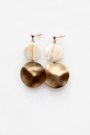 Mother of Pearl Brass Earrings