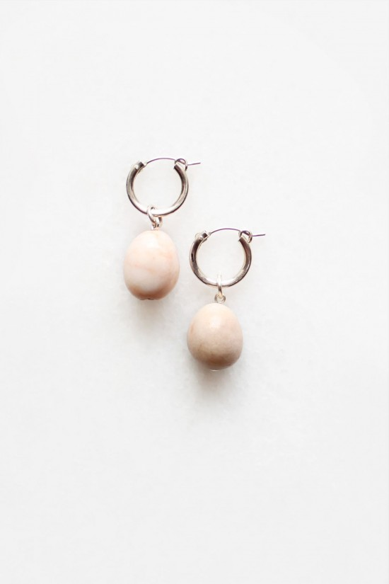 Agate Drop Hoop Earrings - Sterling Silver