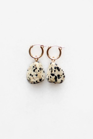 Dalmatian Stone Hoop Earrings