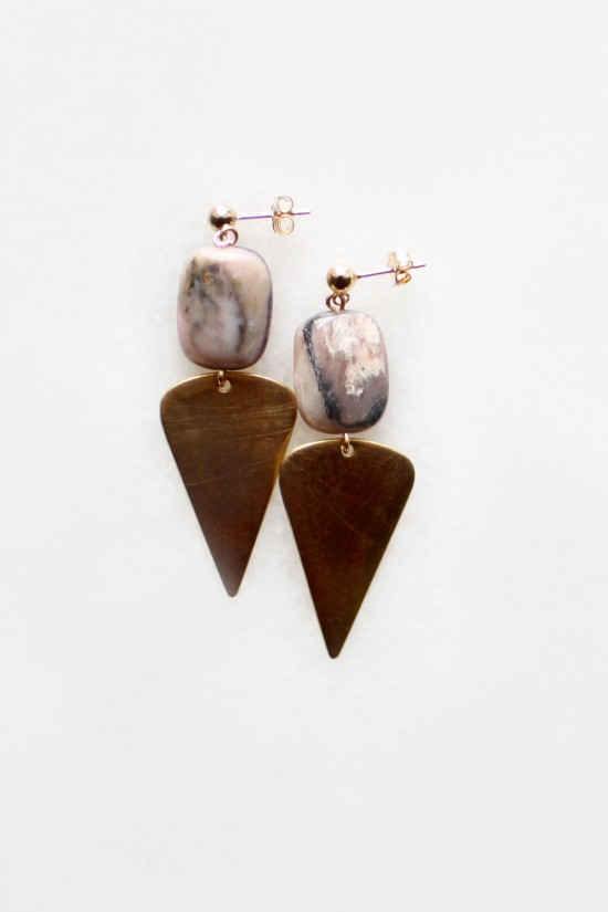 Peruvian Opal and Brass Drop Earrings