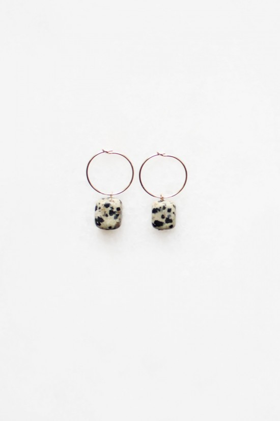 Dalmatian Stone Hoop Earrings