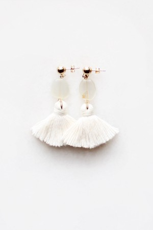 Mini Moonstone Tassel Earrings