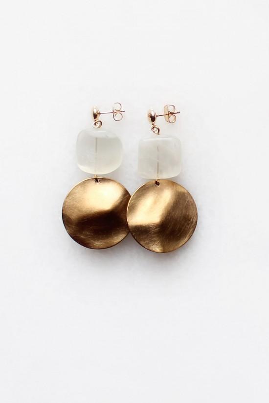 Moonstone Hammered Brass Earrings