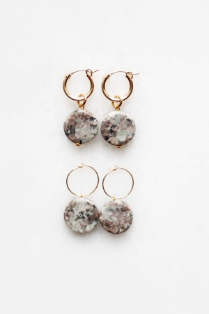 Pink Feldspar Hoop Earrings