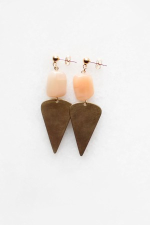 Peach Moonstone Brass Drop Earrings