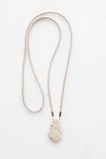 Magnesite and Braided Cord Necklace - sterling silver