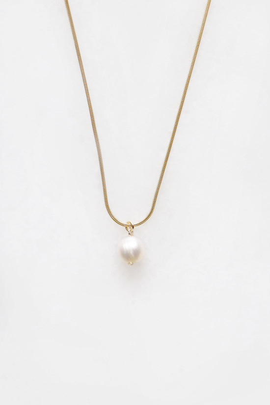 Snake Chain Pearl Necklace - 14kt gold fill