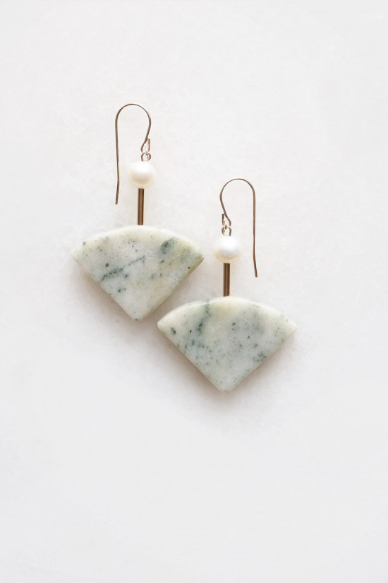 Marble and Pearl Earrings