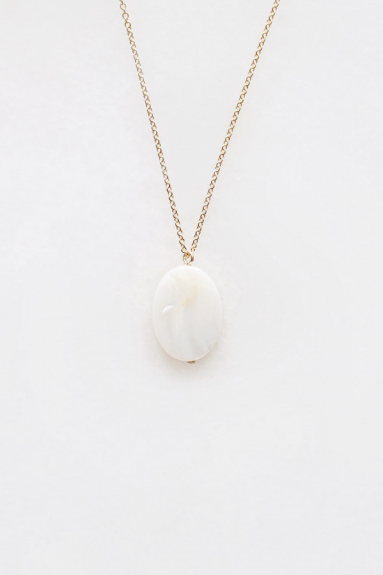 Mother of Pearl Oval Pendant Necklace - 14kt gold fill