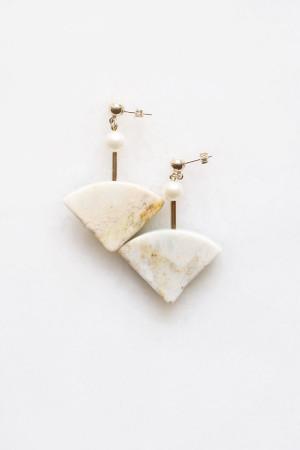 Marble and Pearl Stud Earrings