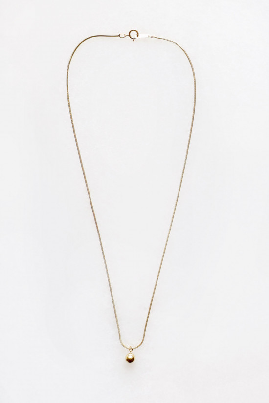 Sphere Drop Snake Chain Necklace - 14kt gold fill
