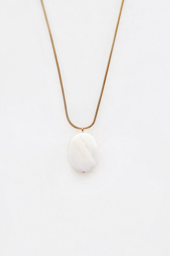 Mother of Pearl Pendant Necklace - 14kt gold fill