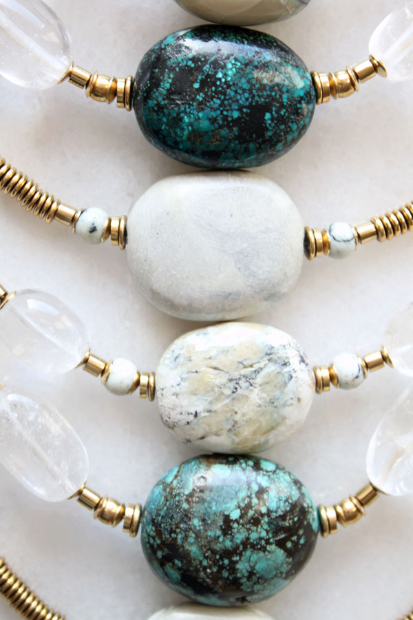 Turquoise and marble necklace details