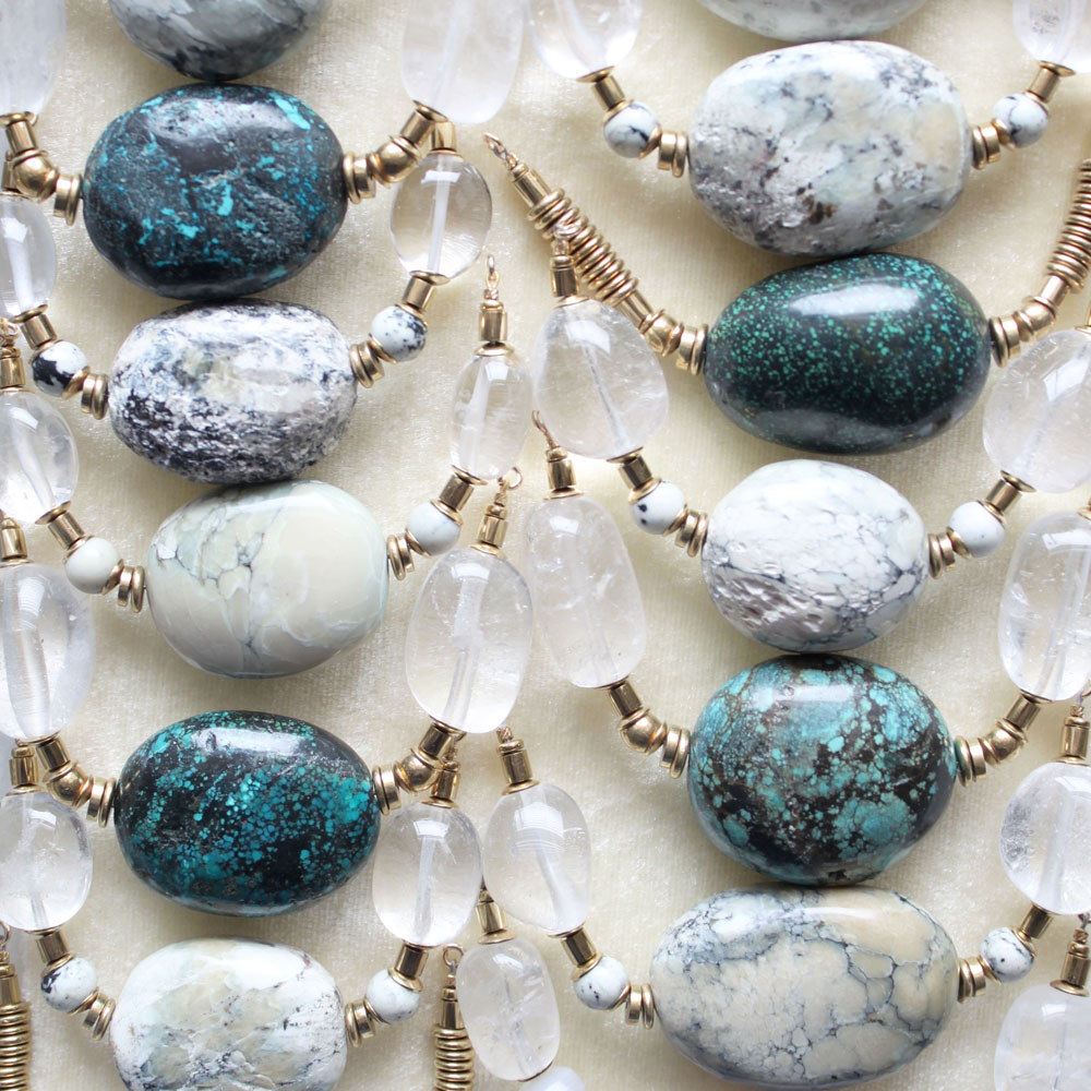 Turquoise and marble necklaces in production
