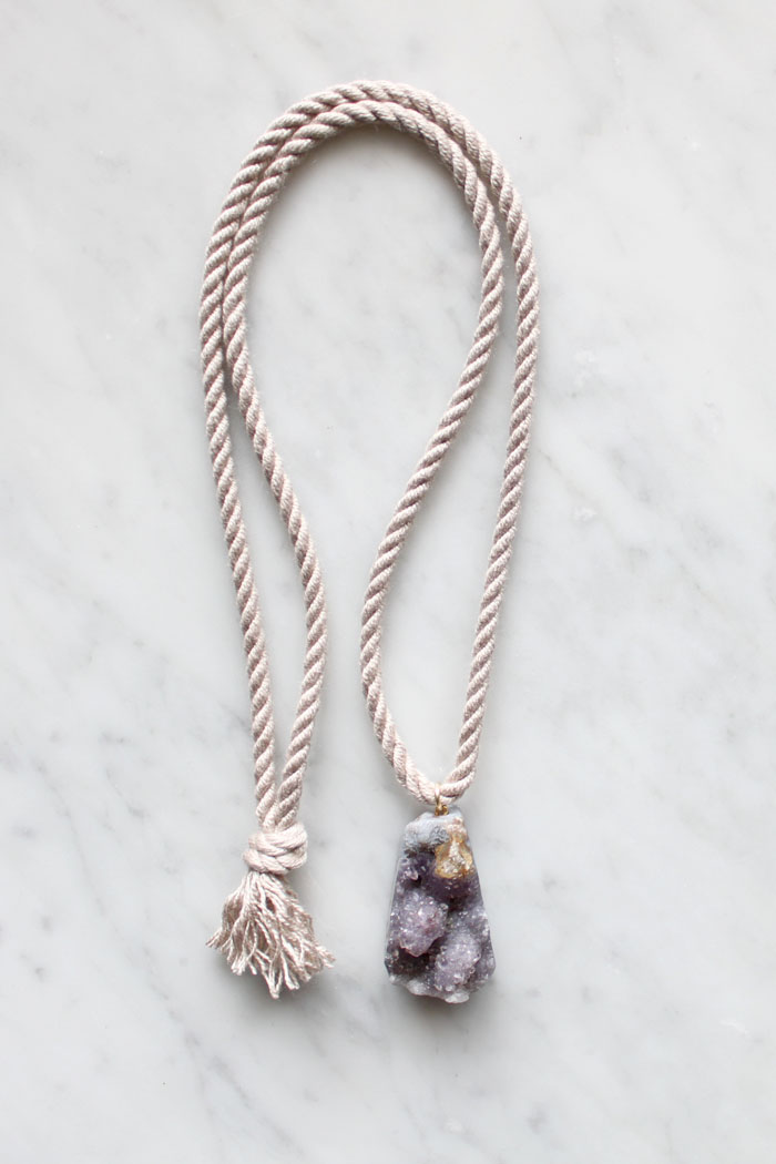 Rope and amethyst necklace by The Vamoose