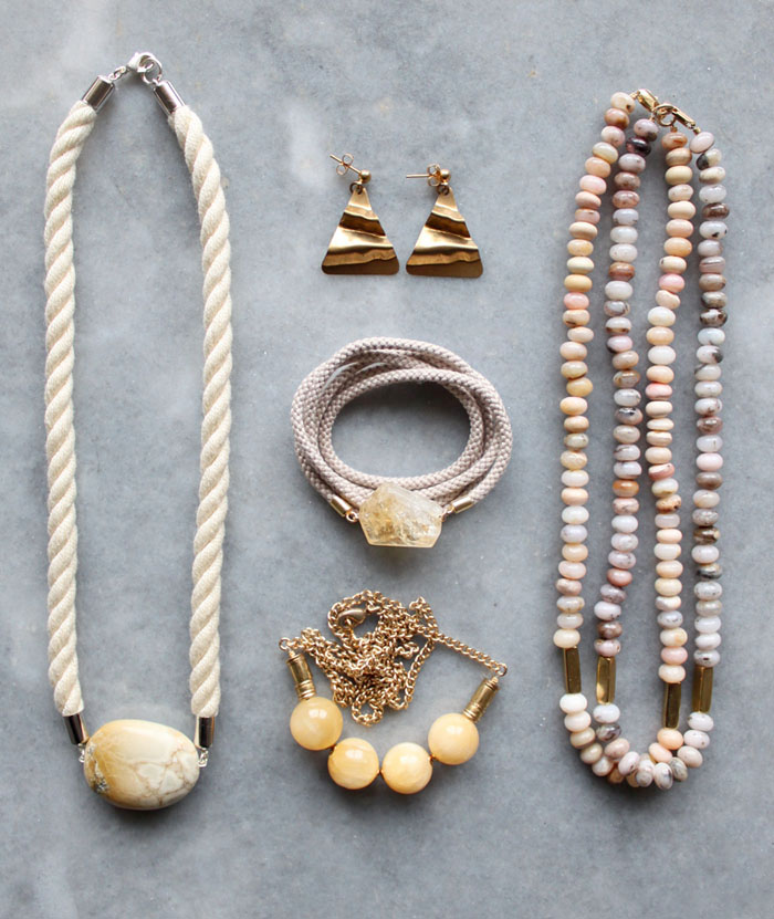Rope gemstone and brass jewellery by The Vamoose