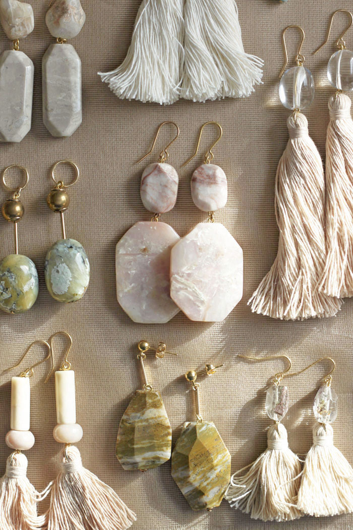 Peruvian opal, marble, quartz and ocean jasper earrings