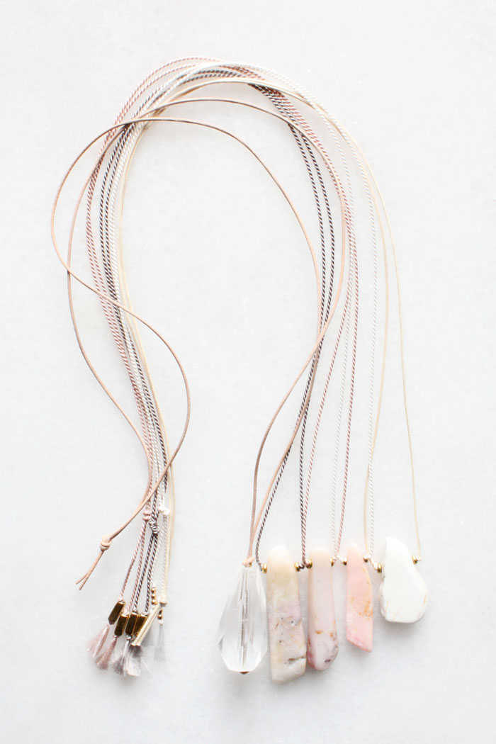 Leather and silk necklaces with quartz, pink opal and magnesite