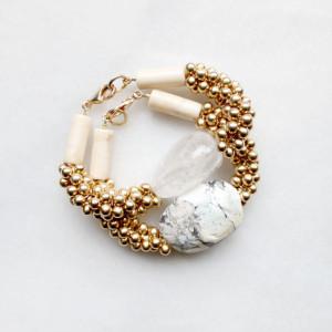Gemstone and Brass Bracelets by The Vamoose