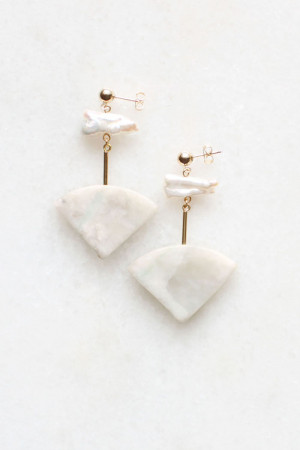 Marble and Pearl Earrings by The Vamoose