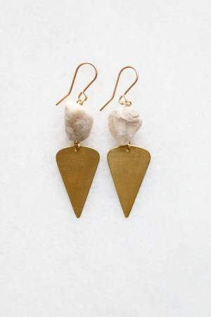 Moonstone Brass Drop Earrings by The Vamoose