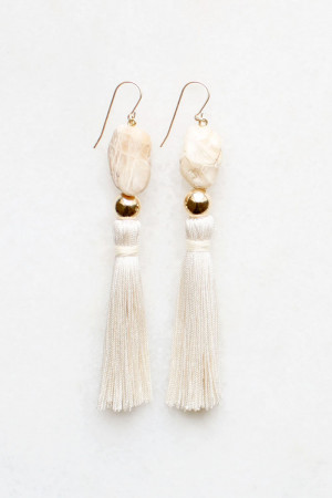 Moonstone and silk earrings by The Vamoose