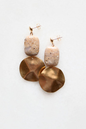 Peruvian Opal and Brass Earrings by The Vamoose