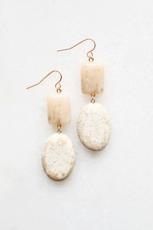 Pink Opal and Magnesite Earrings by The Vamoose