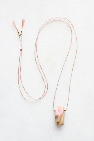 Pink Opal and Silk Necklace by The Vamoose