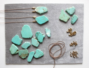 Silk and turquoise necklaces by The Vamoose