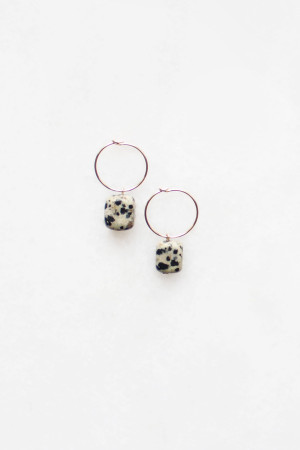 Dalmatian Stone Hoop Earrings by The Vamoose