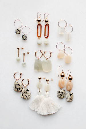 Dalmatian and Moonstone Earrings by The Vamoose