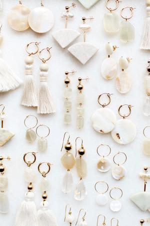 Marble Moonstone Shell Earrings by The Vamoose