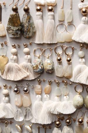 Marble Moonstone and Ocean Jasper Earrings by The Vamoose