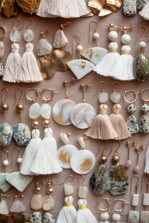 Marble Shell and Moonstone Earrings by The Vamoose