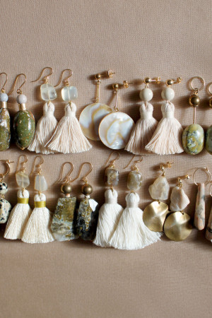 Marble Shell and Ocean Jasper Earrings by The Vamoose