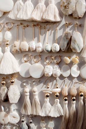 Marble Shell and Pearl Earrings by The Vamoose