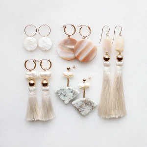 Marble and Shell Earrings by The Vamoose