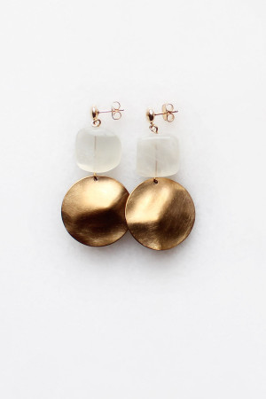 Moonstone Hammered Brass Earrings by The Vamoose