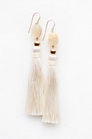 Moonstone Silk Tassel Earrings by The Vamoose