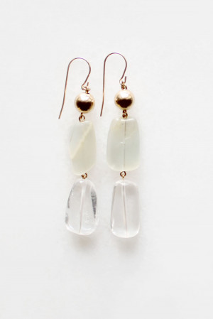 Moonstone and Quartz Tiered Earrings by The Vamoose