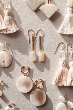 Moonstone and Shell Earrings by The Vamoose