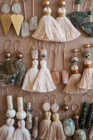 Ocean Jasper Moonstone and Marble Earrings by The Vamoose